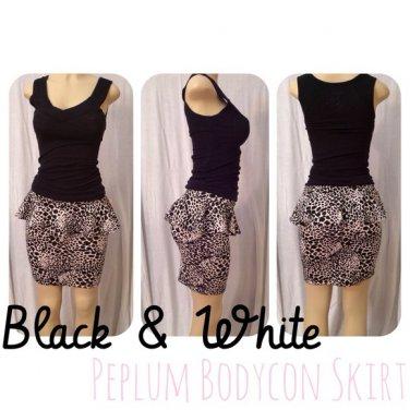 Black/White Peplum Bodycon Skirt Medium