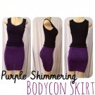 Purple Shimmering Bodycon Skirt Medium