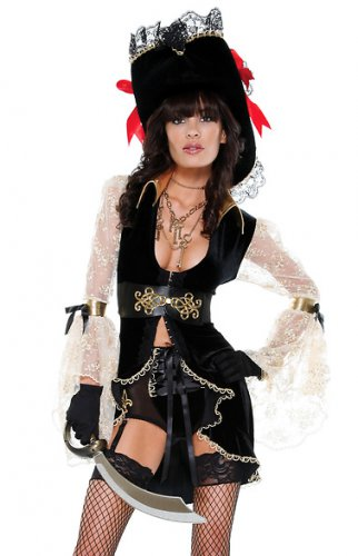 Caribbean Couture Sexy Pirate Costume & Hat Set S/M