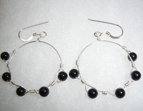 Black Beaded Hoops