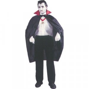 45 in Black Vampire Costume Short Costume Cape Fabric with Red Satin Stand-up Collar