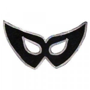 Black Velvet Silver Sequined Eye Mask Masquerade Mardi Gras Cat Eyes Sequins Halloween Costume