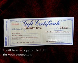 gift certificate $25 USD