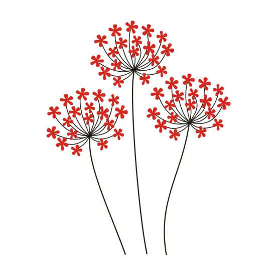 Gabriela's Red Flowers Wall Vinyl Decals Art Graphics Stickers