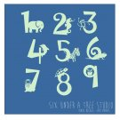 1 to 9 Animal Numbers Wall Vinyl Decals Art Graphics Stickers
