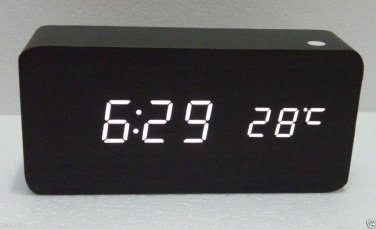 Black Wooden Finish White LED Desk Clock