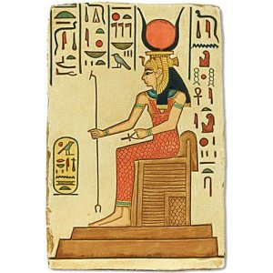 Hathor Seated on Throne Relief wall plaque