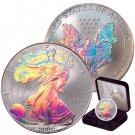 2001 Outstanding Proof Hologram .999 Silver Dollar Plush Case And Coa