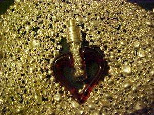 PURE SILVER BULLION ENCASED IN BLOWN GLASS RED HEART