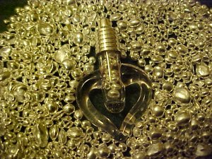 PURE SILVER BULLION ENCASED IN BLOWN GLASS CLEAR HEART