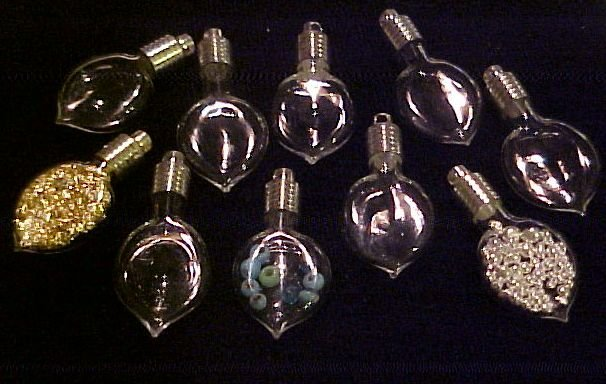 10 LOT GLASS HEART PENDANTS~CHARMS VIALS KIT ~FREE GOLD!~
