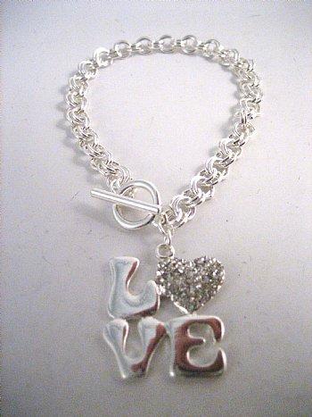 "Rhinestone ""Love"" Bracelet"