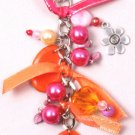 Fushia & Orange Beaded Chain Clip
