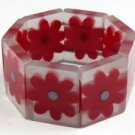 Lucite Bracelet w Red Flowers
