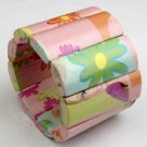 Pink Paper Mache Rectangle Bracelet.