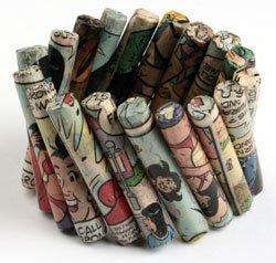 Comic Paper Mache Cylinder Bracelet