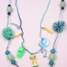 Green & Blue Necklace w Wool Pompoms