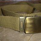 WWII ARMY BELT AND BRASS BUCKLE - Army Khaki - New Never Worn Size 31