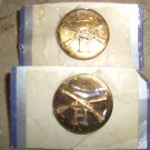 """WWII 2 INFANTRY """"H"""" COLLAR DISC PIN Brass Screw Back New"""