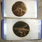 """WWII 2 INFANTRY """"M"""" COLLAR DISC PIN Brass Screw Back New"""