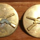 WWII 2 INFANTRY COLLAR DISC PIN Brass Screw Back Brand New