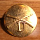 "WWII INFANTRY ""D"" COLLAR DISC PIN - Brass -Screw Back"