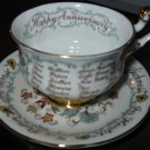 Cup and Saucer Anniversary Parogon England