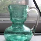 Crackle Glass Pitcher With Clear Handle Very Cute Piece