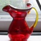 Crackle Glass Pitcher With Yellow Rim and Handle Very Cute Piece