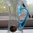 Crackle Glass Pitcher With Kanawha Label Hand Blown