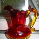 Crackle Glass Amberina Fluted Pitcher Very Pretty Hand Blown