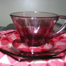 Moroccan Amethyst Cup and Saucer Hazel Atlas 6 Available Very Nice