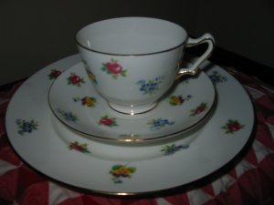 Crown Staffordshire Multi Flowers 3 Piece Cup and Saucer Set Made in England 7 Available