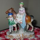 Pair Figurines Horse With Colonial Couple Marked Japan