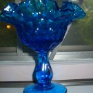 Vibrant Blue Ruffled Compote / Dish Awesome Piece