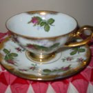 Cup and Saucer Pink Roses with Heavy Gold Trim Very Pretty Set