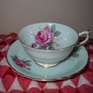 Cup and Saucer Mint Green with Pink Roses Paragon Made England Very Very Pretty Set