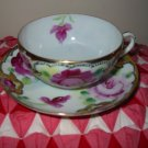 Cup and Saucer Pink Roses With Lots Of Gold Trim Very Pretty Set