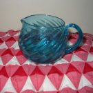 Hand Blown Creamer and Sugar Blue Swirl Very Pretty Set