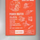 Power Tool Know How Sears Craftsman Operators Manual Vintage Item