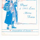 Digest Of 1963 Laws Affecting Towns Association of Towns New York State Vintage Item