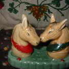 Vintage 3 Piece Kissing Horses Salt and Pepper Shakers Very Cute Marked Japan