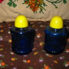 Vintage Blue Glass Drum Salt and Pepper Shakers Very Nice