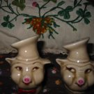 Vintage Chef Pig  Salt and Pepper Shakers Very Nice