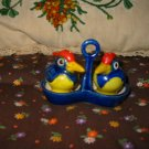 Vintage Bird with Holder / Tray 3 Piece Salt and Pepper Shakers Very Nice