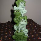 Frog Frogs Totem Pole Figurine Very Cute Ceramic
