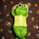 Frog Laying Down With Book On Chest Figurine Very Cute