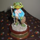 James Montague Frog On Wood Base LN-25 LN25 Little Nook Village Fishing Figurine