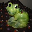 Frog Sitting With Lady Bug On Neck Figurine Very Cute