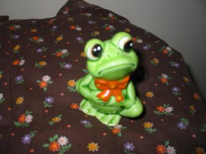 Frog Sad With Red Scarf Figurine Very Cute